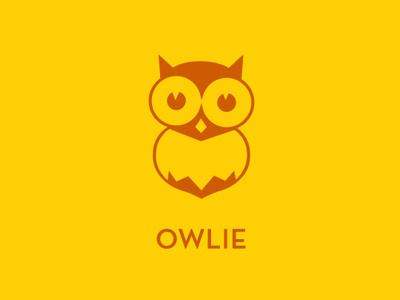 Owlie owl logo yellow typography flat