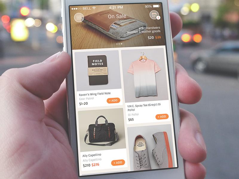 On Sale grid sale ecommerce ui ux iphone ios7 minimal shop shopping chart ios
