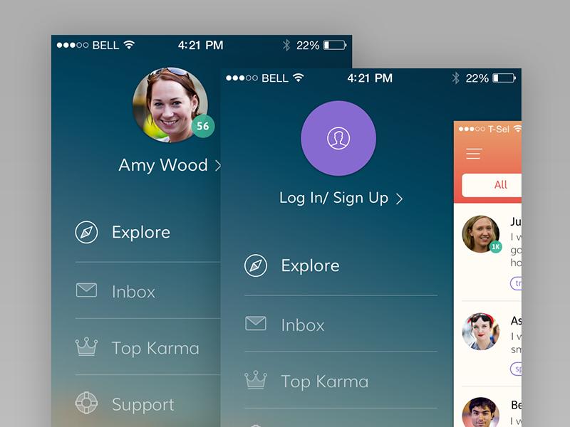H2H sidebar sidebar profile icons explore iphone ios7 inbox karma support menu help flat