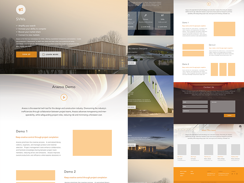 Arazoo Final Full landing page architecture team footer clean minimal marketing page homepage responsive button contact construction