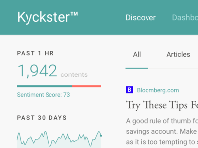 Kyckster Search Results home stats kyckster finance dashboard graph bar typography ui web ux discover