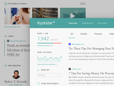 Kyckster Discover (Full page) stats discover home ux web ui typography quote graph dashboard finance video