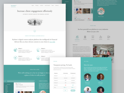 Kyckster Landing Page minimal video finance dashboard about typography ui web ux home landing page icons
