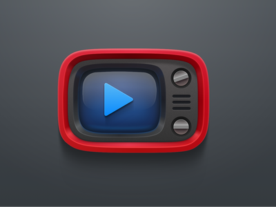 Red Retro Tv Sketch icons play tv television 3d sketch free freebie mac apple download