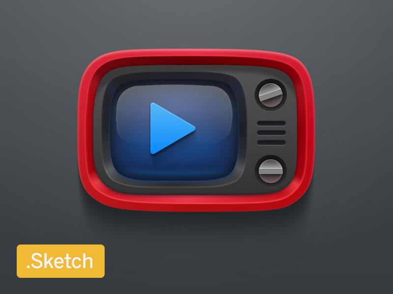 Red retro tv sketch