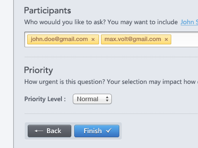 Participants Form form web app button ui arrow check back finish participants priority ask question dropdown grey blue white yellow black ux designer