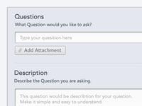 Form Full pin attachment text field description ux black yellow white blue grey dropdown question ask priority participants finish back check arrow ui button app web form