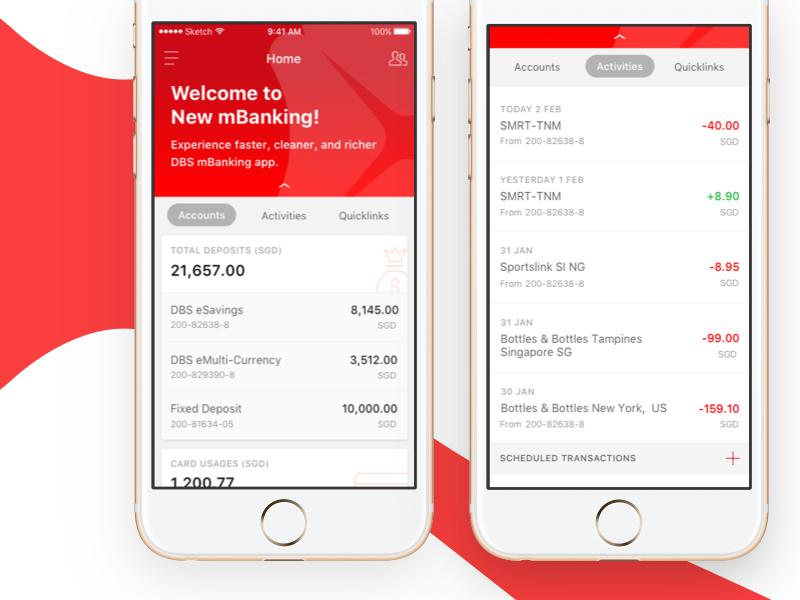Mobile Banking bank transaction credit card savings account balance deposit finance ux ui minimal banking mobile