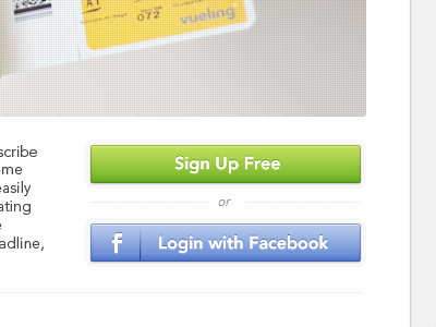 Landing page − Sign Up & Fb Login button by Bady on Dribbble