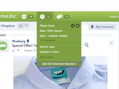 Menu drop down icon notification menubar chart favorites profile address icons web app design soft blue subtle notes website email ui designer ux fb tab navigation separator list notif shop drop down
