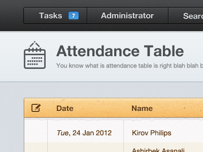 Attendance menu bar web app date calendar icon glyph students attendance navigation header table search admin task management ui ux gui manager lms course