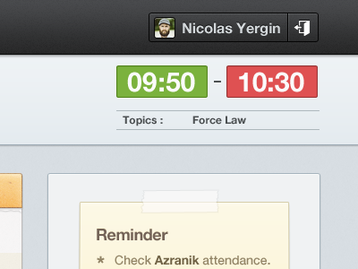 Time Begin - Time End time range topics menubar reminder web app ui ux user gui login admin management school note task simple minimalist table sidebar navigation date lms course