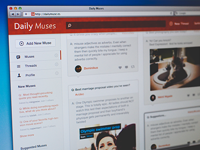 Daily Muses v2 daily muse home dashboard ui ux gui layout minimal minimalist icons web app social question answer profile threads simple clean