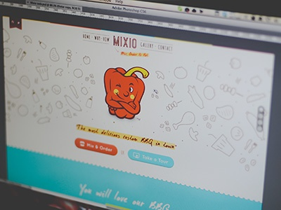 Mixio landing page mixio home web app ui ux gui interface landing page bbq food tour order mix doodle illustration navigation baverages