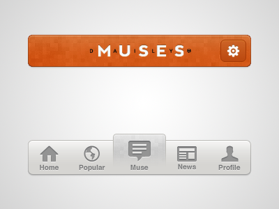 Daily Muses iPhone profile news popular home ios iphone app ui clean clear simple minimal minimalist icon daily muse ux web social ask question photo designer modern navigation logo tag header bar devrocket
