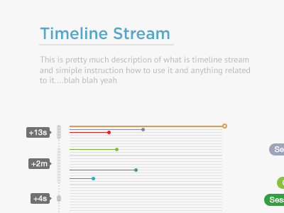 Stream data timeline graph visualization stream event analytics charts web app ui ux minimalist clear simple time stamp bar