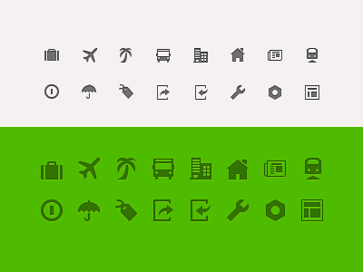 16, 24, 32, 64 px icons icons 32 16 24 64 ui ux design web app scale glyphs package travel bus building news layout train hotel login log out holiday preference flight plane logout bolts
