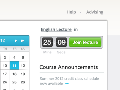 Join lecture icon calendar search user sidebar home update course education layout button menu navigation sub header modern clean ux ui app web lecture counter flip