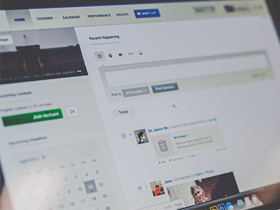 Social stream calendar dashboard cms management learning course academic app web minimalist clean profile help advise search notification navigation ux ui social status post icon video link picture stream button update