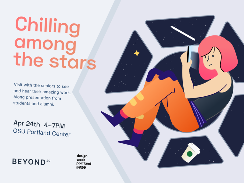 Chilling Among The Stars vector art girl gravity universe star astronaut space poster illustraion