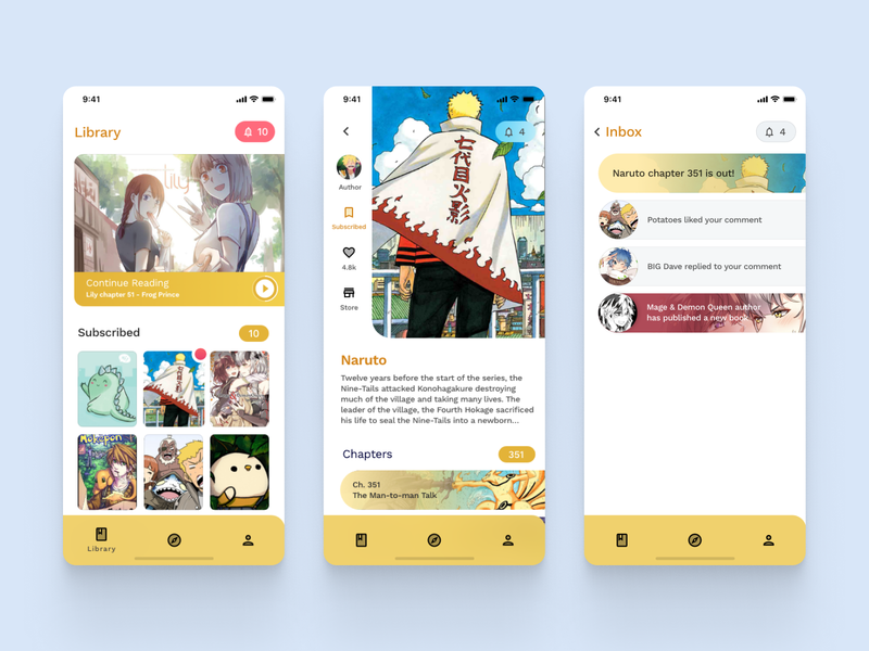 Comet Comic App ux ui ios checkout store settings profile notifications webcomics manga comics mobile app