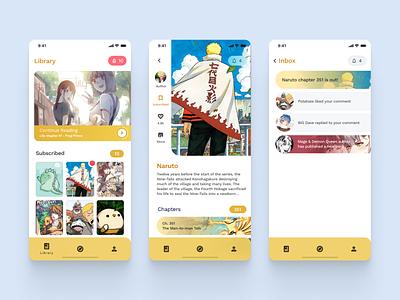 Comet Comic App ux ui ios checkout store settings profile notifications webcomics manga comics mobile app