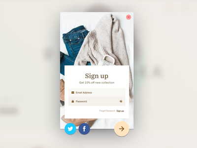 Store sign up card ux ui adobexd clothing fashion appeal store sign up signup popup cards ui
