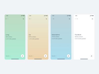 Hues Expense Tracker minimal gradients app design financial app app ui subscriptions credit card dashboard expense tracker budget spending money