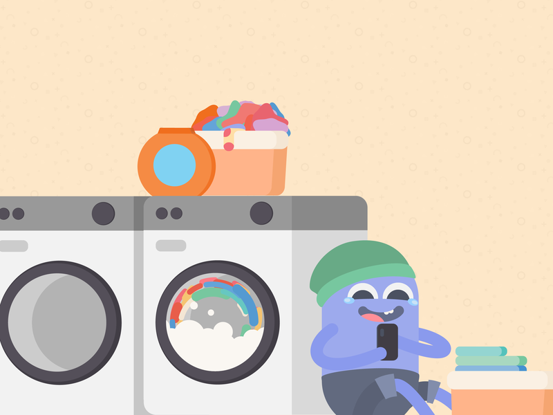 Free Laundry soap cleaning instagram post flat washing machine laughing washer laundry vector art illustration