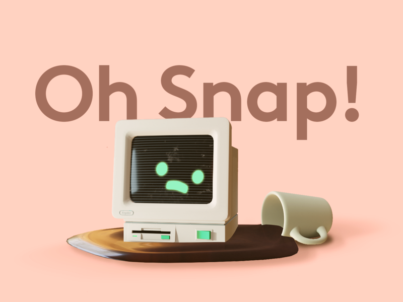 Oh snap! spill coffee computer render b3d blender