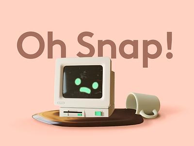 Oh snap! spill coffee computer render b3d blender