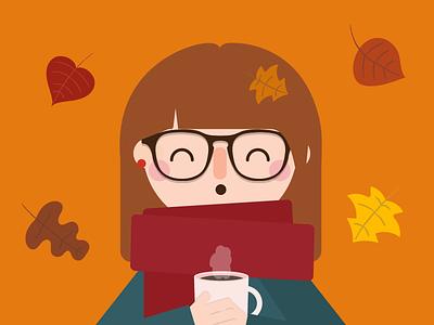 Autumn autumn colours outono fall tea hot leaves vector illustration autumn