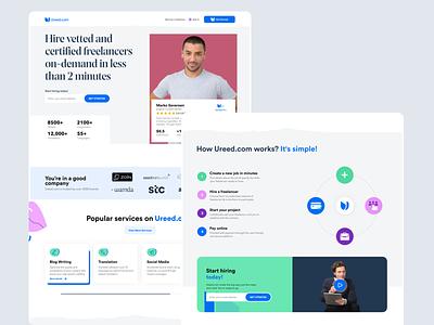 Ureed | certified freelancers on-demand Platform landingpage freelancer app clear modern product web interface business design ui ux