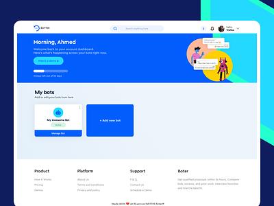 BOTTER | Enterprise Chatbot Builder AI-based product modern ui ux bots web ai dashboard ui system dashboard