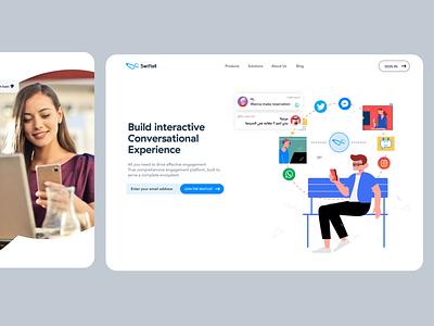 Swiftell | Enterprise chatbots builder landing page modern business branding minimal chat illustration ui website landingpage