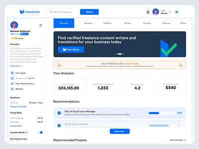 Ureed | Freelancer Dashboard enterprise interface business clean minimal dashboad freelancer