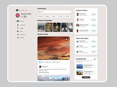 Platform/Community For brands & creatives | Flatlay interface cards feed dashboard design ux ui