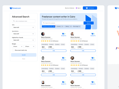 Ureed | Search for freelancers interface hire branding about registration form freelancer search progress wizard registration