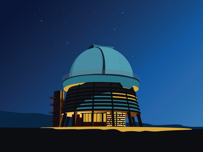 Soviet Modernism: Byurakan Observatory after Victor Hambardzumya soviet modernism soviet night sky planets stars space observatory byurakan architecture vector armenia illustration graphic design
