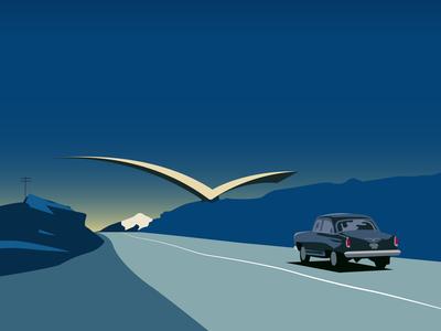 """Soviet Modernism: """"Seagull"""" road mark"""