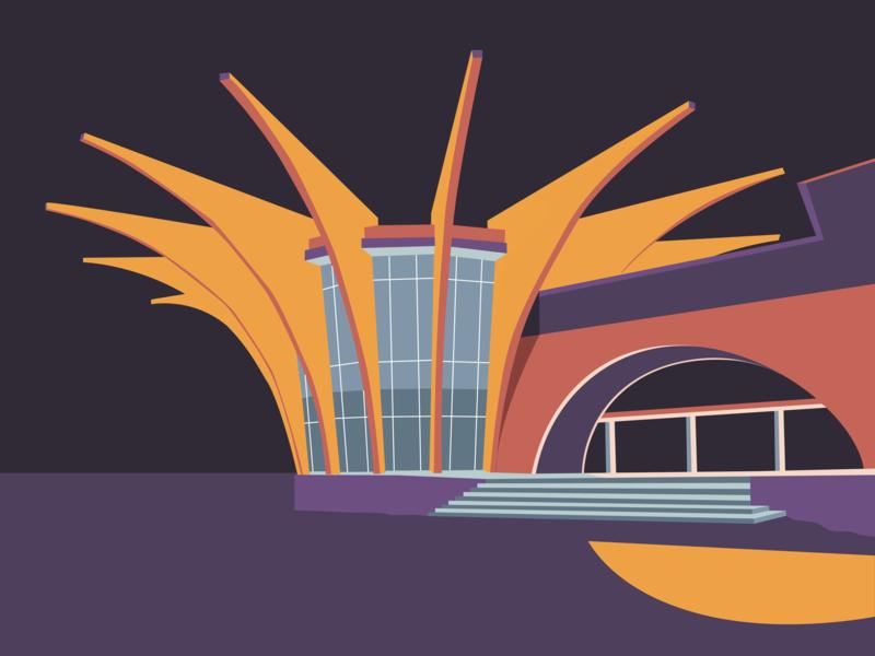 Soviet Modernism: Central bus station in Hrazdan bus station hrazdan print modernist architecture soviet modernism vector soviet armenia architecture illustration graphic design
