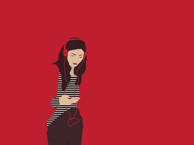 RED n2 woman portrait woman illustration girl red music woman print vector illustration graphic design