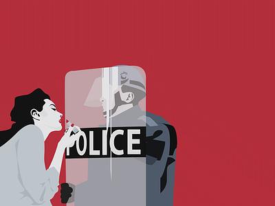 RED n1 reflection tension lipstick revolution rebel police girl power women power women woman print vector illustration graphic design