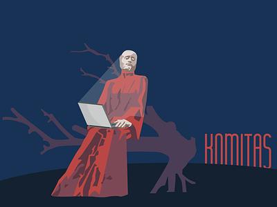 Komitas | Armenian intellectuals role pIaying sticker roleplaying sculpture yerevan armenia vector illustration graphic design