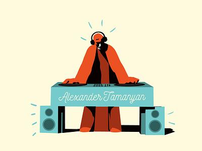 Alexander Tamanyan | Armenian intellectuals role pIaying dj tamanyan sculpture yerevan armenia vector illustration graphic design