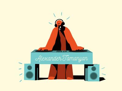 Alexander Tamanyan   Armenian intellectuals role pIaying dj tamanyan sculpture yerevan armenia vector illustration graphic design