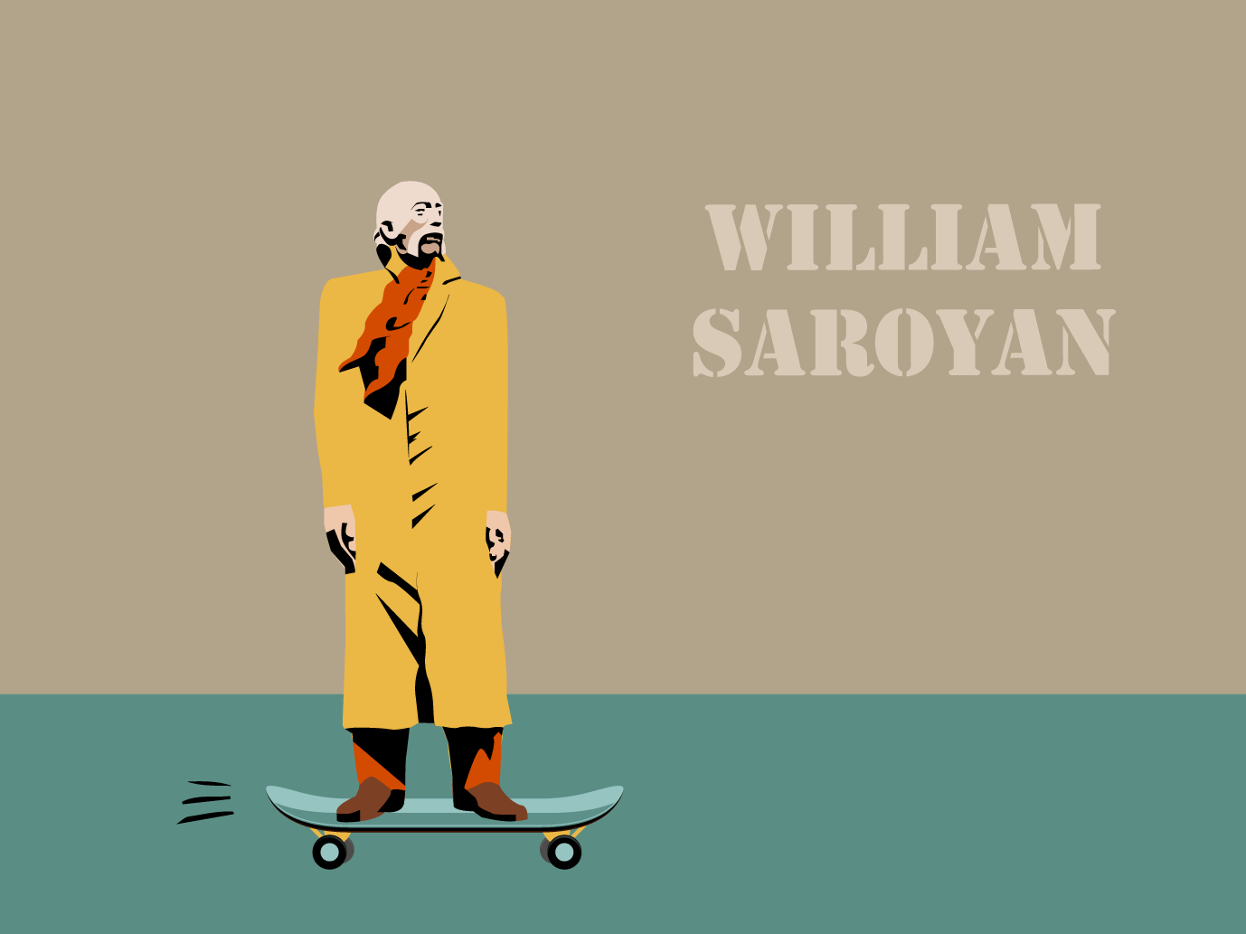 William Saroyan | Armenian intellectuals role pIaying skating skateboard skater william saroyan sculpture yerevan armenia vector illustration graphic design