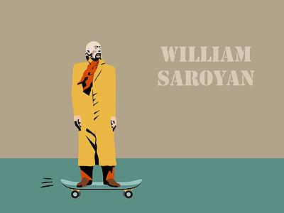 William Saroyan | Armenian intellectuals role pIaying skating skateboard skater william saroyan sculpture yerevan armenia vector illustration graphic design