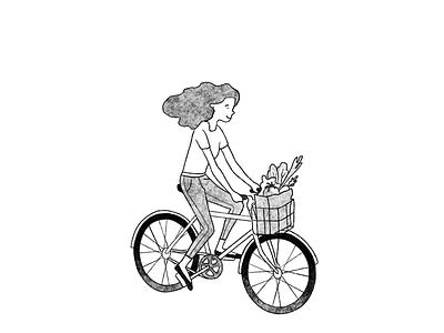 "Illustration for ""Citizens' Assemblies"" book girl illustration citizen democracy woman biking bicycle bike girl illustration graphic design"
