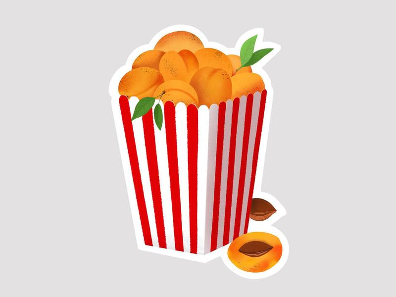 Sticker for the Golden Apricot International Film Festival procreateapp procreate evn yerevan film festival festival apricot popcorn film cinema sticker illustration
